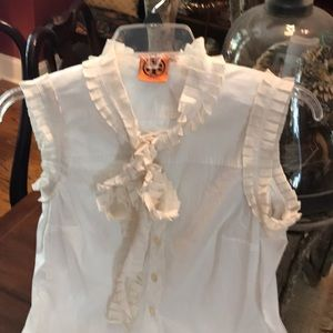 Tory Burch Ivory Cap Sleeve & Ruffle Tie Neck Top!